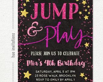jump party birthday invitation girls 7th birthday invitation etsy