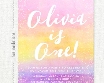 1st birthday invitation for girls, rainbow first birthday invitation, watercolor first birthday invitation, pink yellow purple, digital file