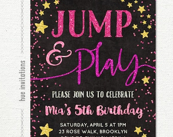 Jump Birthday Invitation Girls 5th Tumble And Play Trampoline Bounce House Pink Gold Glitter Stars Black