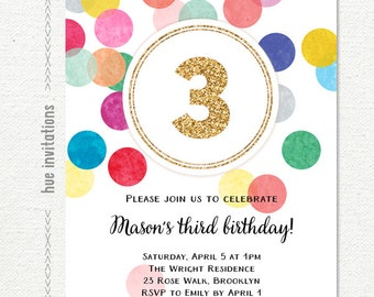 3rd birthday invite etsy 3rd birthday invitation rainbow and gold glitter turning three printable birthday party invite customized digital invitation file filmwisefo