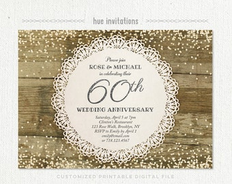 60th wedding anniversary invitation diamond glitter silver confetti rustic lace anniversary party invite diamond jubilee invitation 205