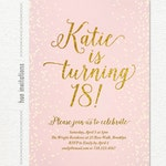 18th birthday invitation for girl, teen pink and gold glitter digital invitation, modern teen birthday party invite, printable file 5x7 s113