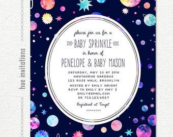 space themed baby sprinkle invitation modern girls baby sprinkle printable invite planets stars watercolor galaxy 5x7 jpg pdf n5