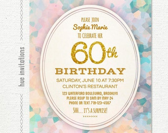 Watercolor 30th Birthday Party Invitation Modern Pastel Etsy