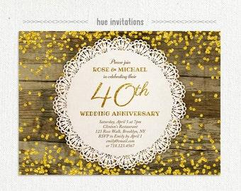 Woodgrain 50th Wedding Anniversary Party Invitation Rustic Etsy