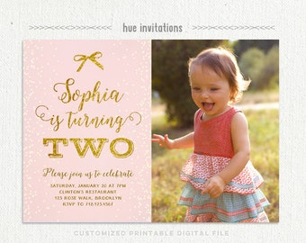 Girls 1st Birthday Invitation Pink And Gold Glitter First Etsy