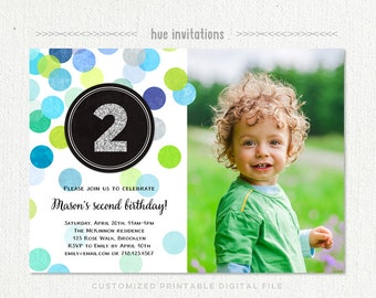 2nd Birthday Invitation Boy Blue Green Silver Glitter Second Party Photo Printable File