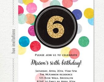 Girls 6th Birthday Invitation Rainbow Party Gold Glitter Digital Confetti Customized Printable Invite