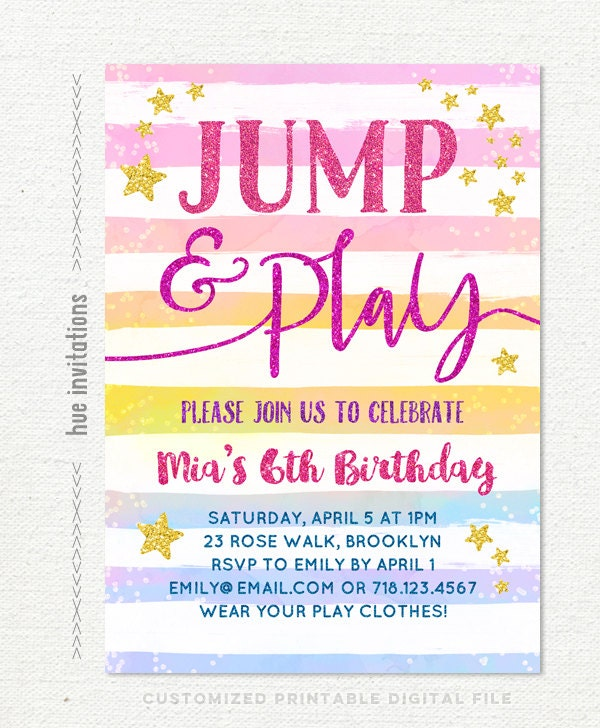 Jump Birthday Invitation Rainbow Girls 6th Etsy Invitations