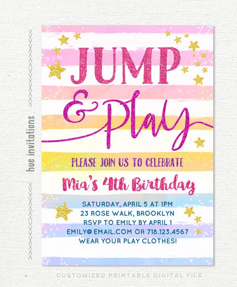 Jump Birthday Party Invitation Girls 4th