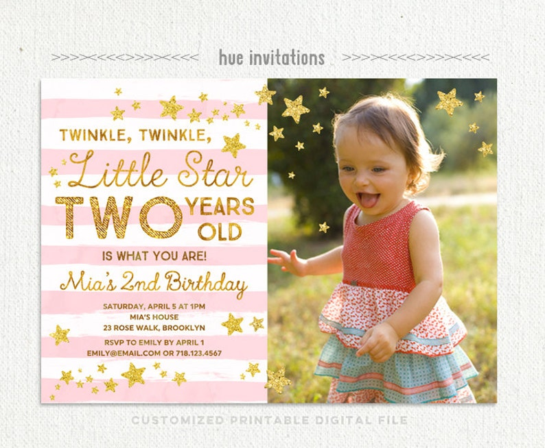twinkle twinkle little star birthday invitation for girl with photo stars stripes digital file pink gold glitter 2nd birthday invitation