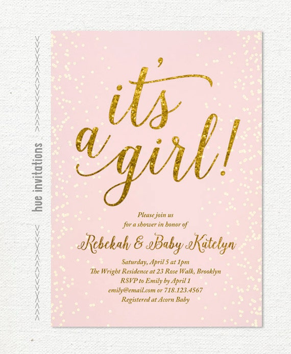 Baby Shower Invitation It S A Girl Pink And Gold Baby Etsy
