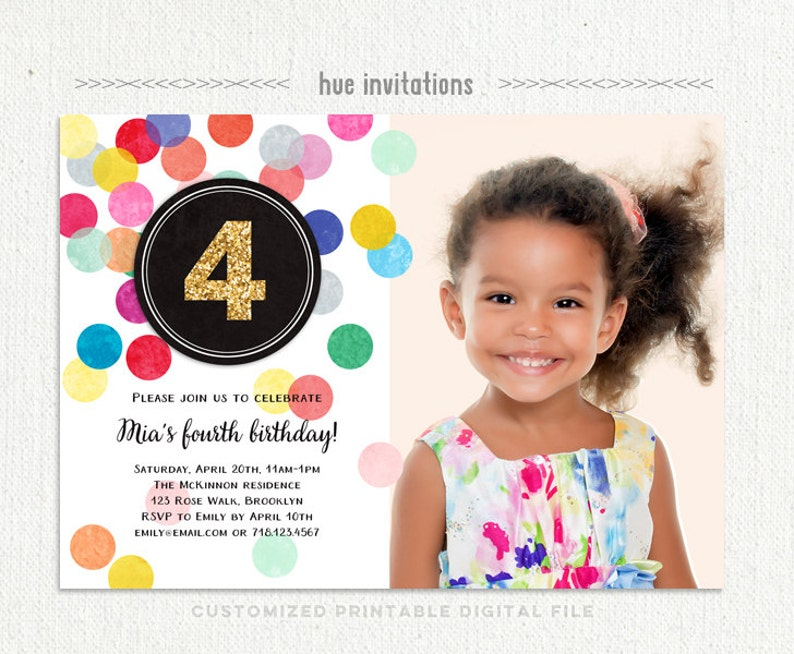 Girls 4th Birthday Party Invitation With Photo Rainbow