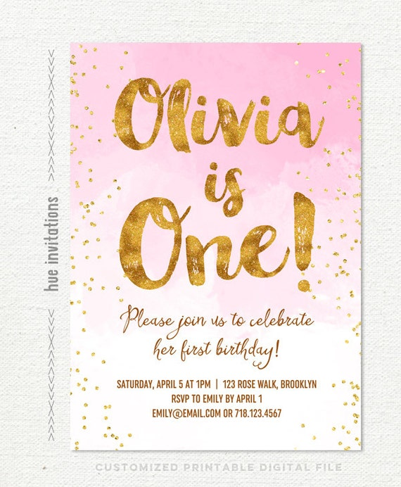 pink gold first birthday invitation for girl blush pink etsy