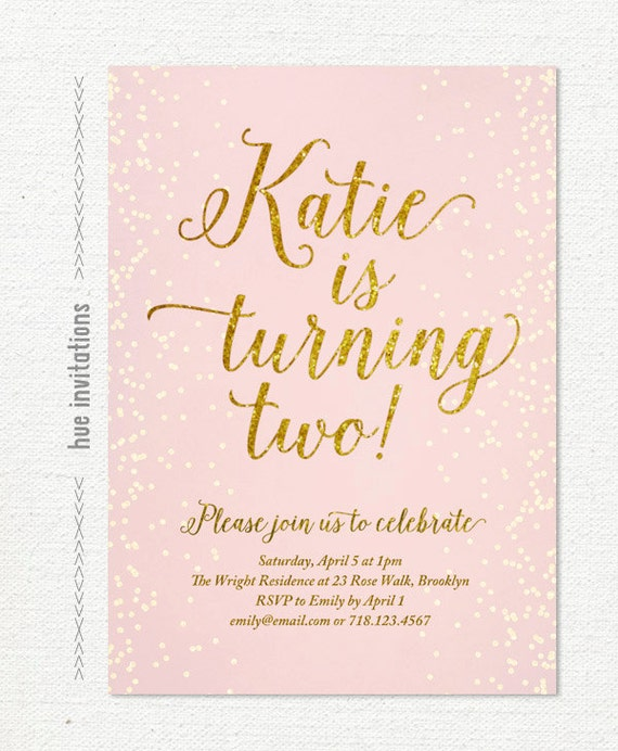 Pink Gold Glitter Birthday Invitation For Girl Blush 2nd