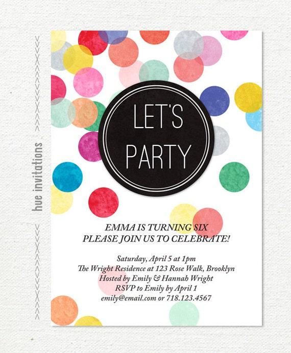 rainbow confetti birthday party invitation girls birthday etsy