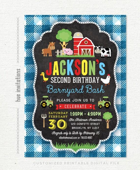 Farm Birthday Invitation For Boys Barn 2nd Party