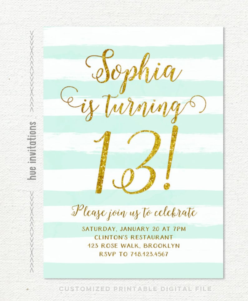 13th Birthday Invitations Girl Mint Stripes Gold Glitter Printable Teen Party Invites Turquoise Watercolor Shabby Rustic