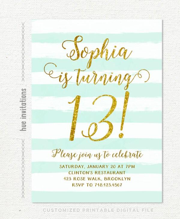 13th Birthday Invitations Girl Mint Stripes Gold Glitter