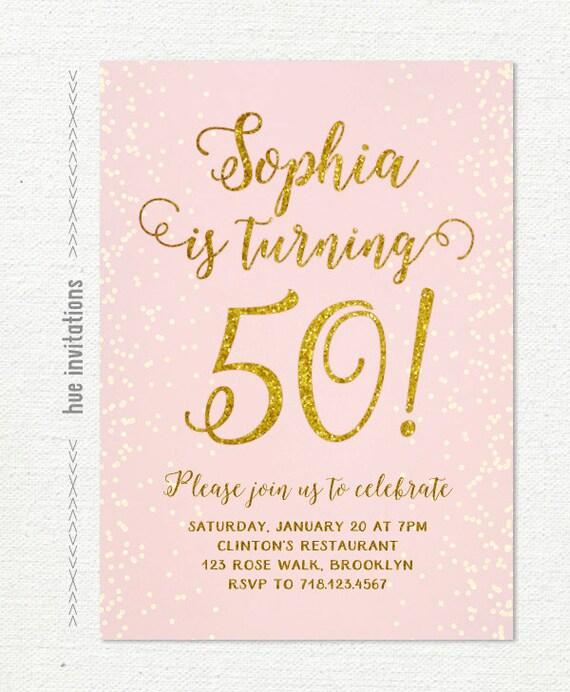 50th Birthday Invitation Pink Gold Glitter