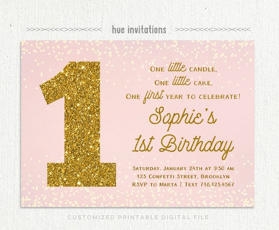 First Birthday Invitation Pink And Gold 1st Birthday Girl Etsy