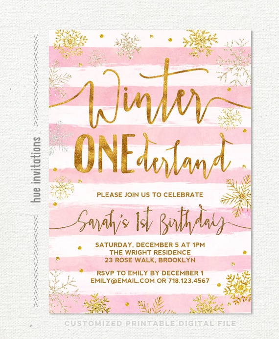 pink silver winter onederland invitations glitter 1st first birthday