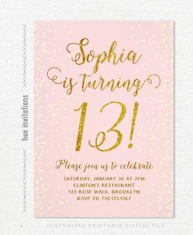 13th Birthday Invitation For Girl Pink Gold Teen Birthday Etsy