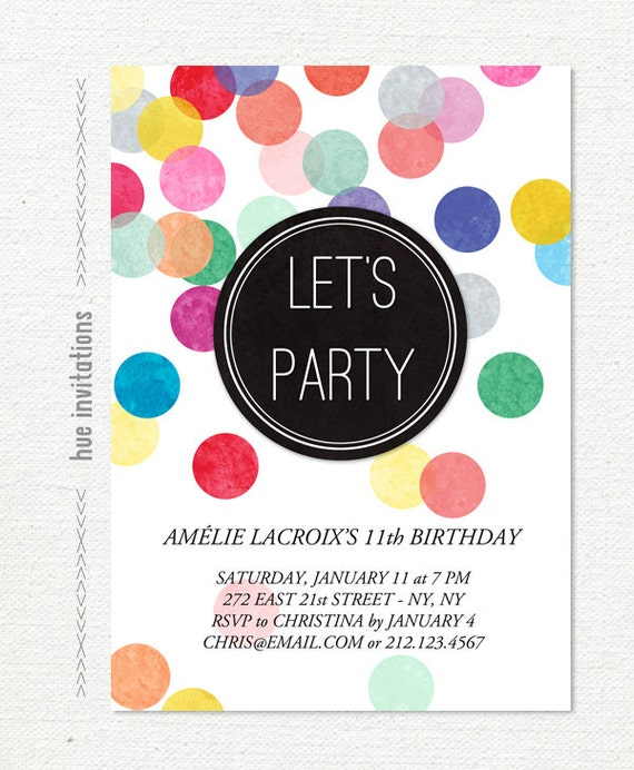 tween birthday party invitation confetti 11th birthday etsy