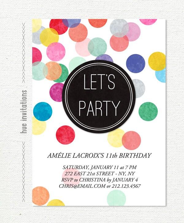 Tween Birthday Party Invitation Confetti 11th Etsy