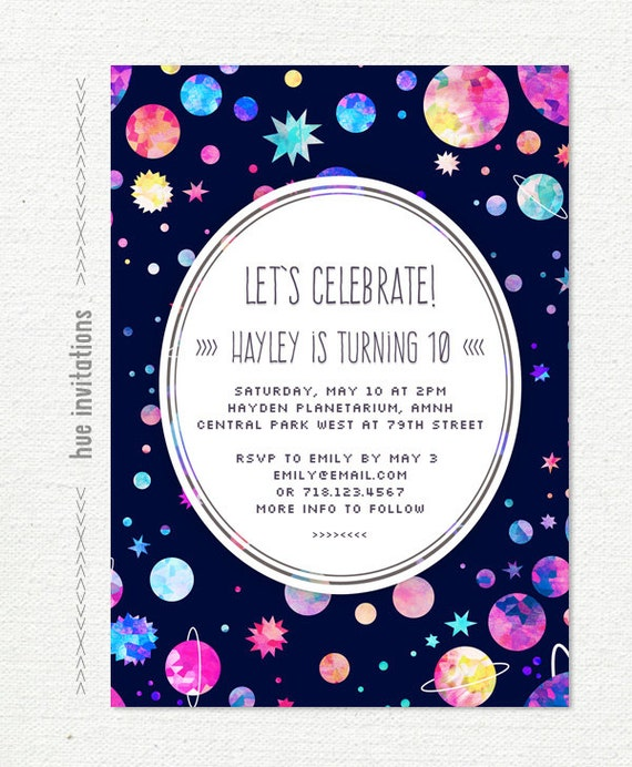 Girls 10th Birthday Party Invitation Space Themed