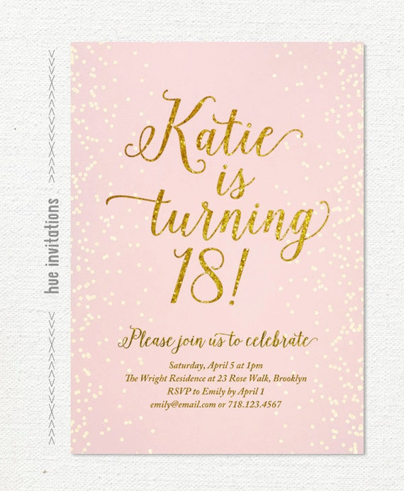18th Birthday Invitation For Girl Teen Pink And Gold Glitter Etsy