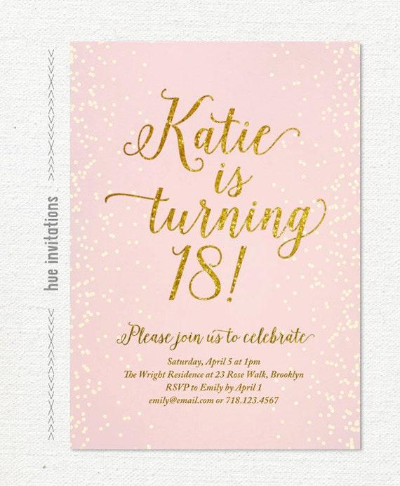 Pink gold glitter 18th birthday invitation for girl modern etsy image 0 filmwisefo