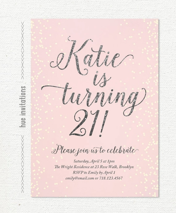 21st birthday invitation for women blush pink silver glitter etsy