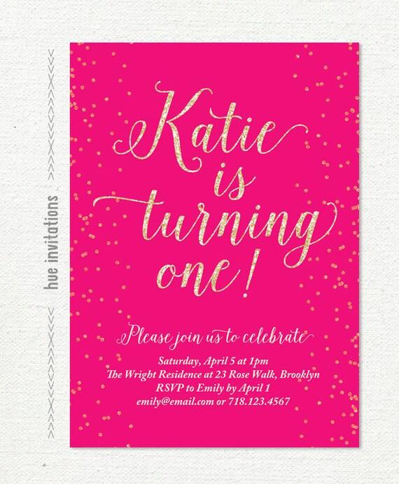 Hot Pink First Birthday Invitation Digital Glitter Girls 1st