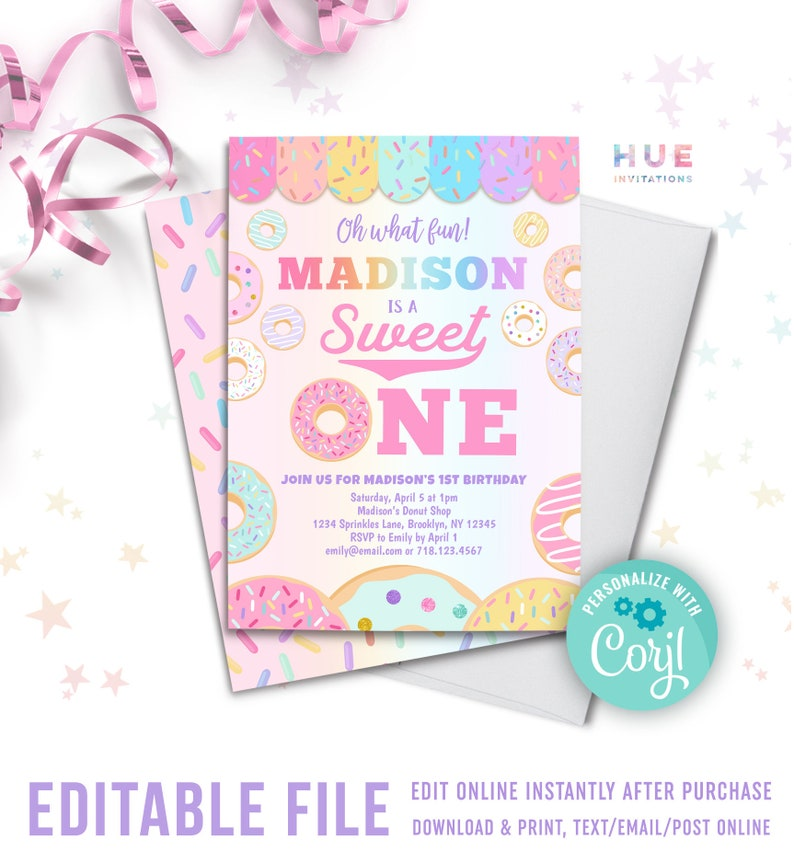 Sweet ONE Donut 1st Birthday Invitation Instant Download
