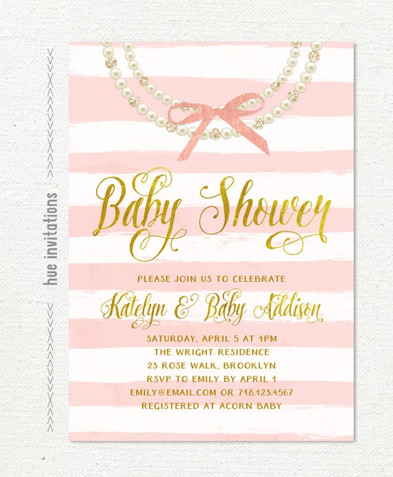 Pearls and bow baby shower invitation for baby girl pink etsy image 0 filmwisefo
