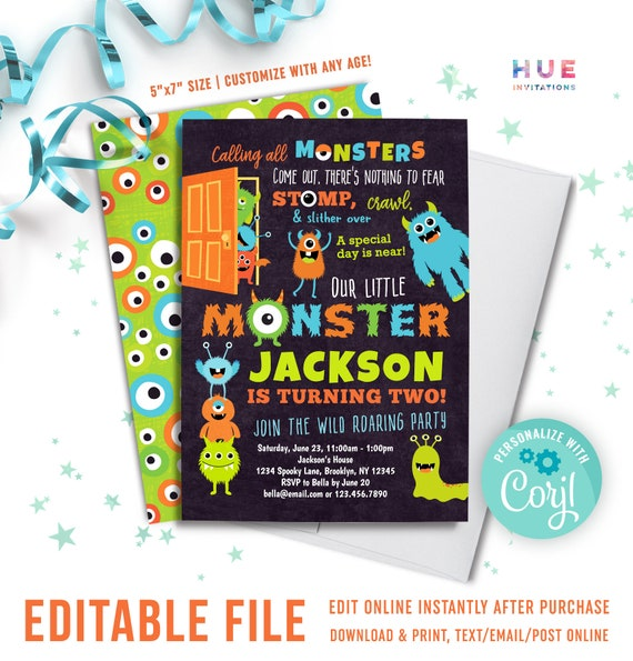 Monster 2nd Birthday Invitation Instant Download Boys Cute