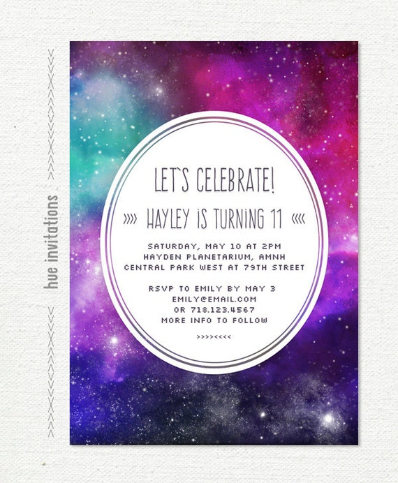 Tween birthday party invitation nebula galaxy girls 11th etsy image 0 filmwisefo