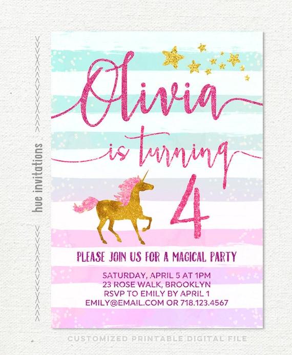 Unicorn 4th Birthday Party Invitation Girls