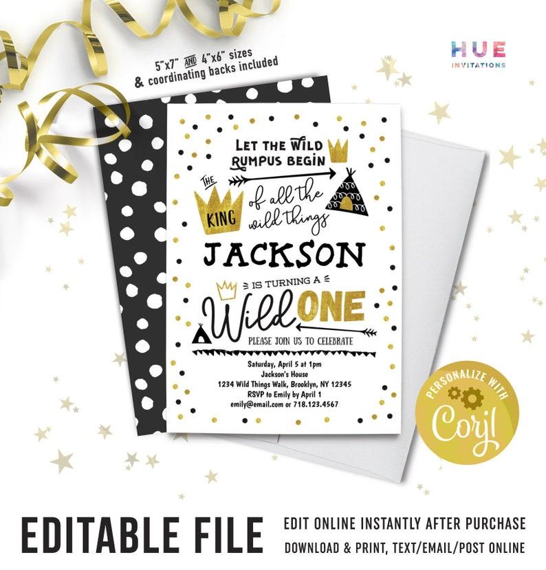Wild ONE 1st Birthday Invitations Boy Instant Download