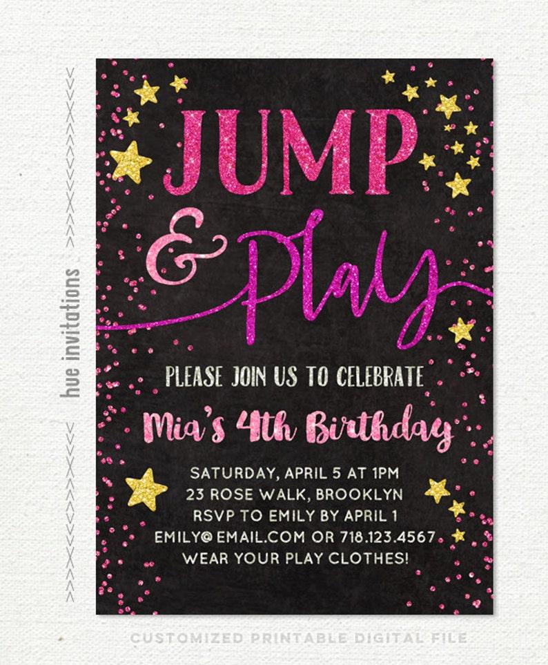 jump birthday invitation jump party invitation girls 4th birthday pink gold stars tumble and play trampoline birthday bounce house