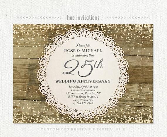 25th Wedding Anniversary Invitation Silver Anniversary Party Silver Glitter Confetti Rustic Lace Doily Silver Jubilee Invitation 204