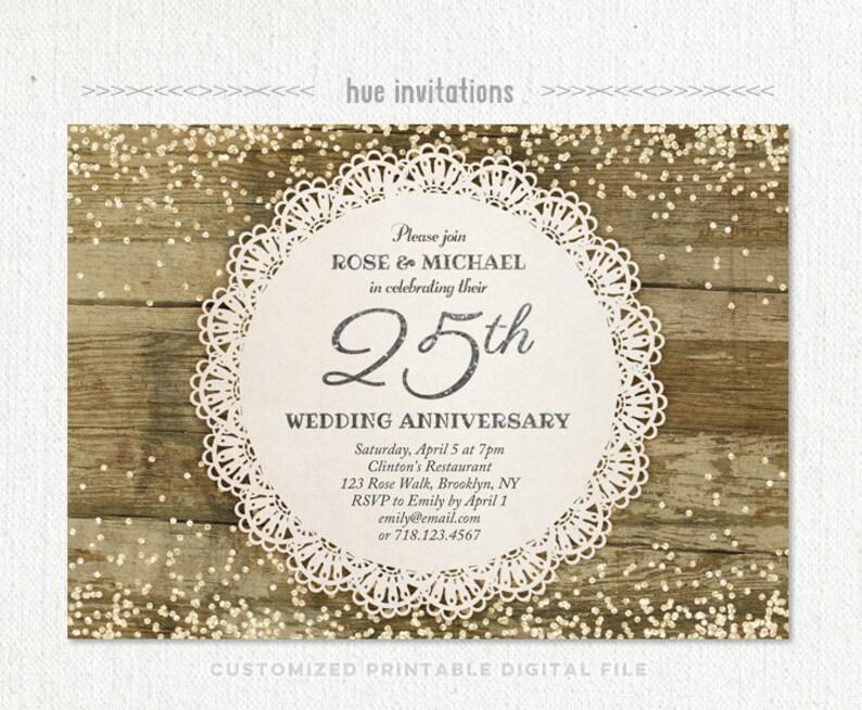 25th Wedding Anniversary Invitation Silver Party Glitter Confetti Rustic Lace Doily Jubilee 204