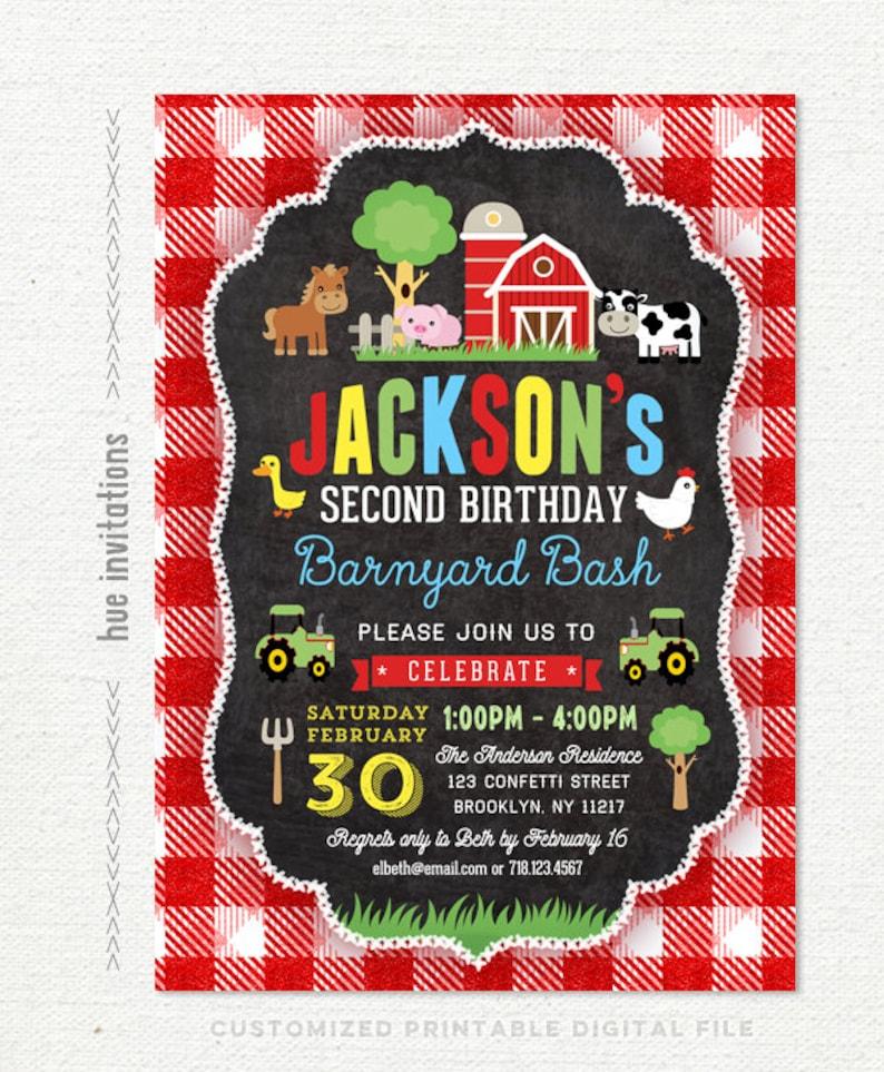 Barnyard Birthday Invitation For Boys Farm 2nd Party