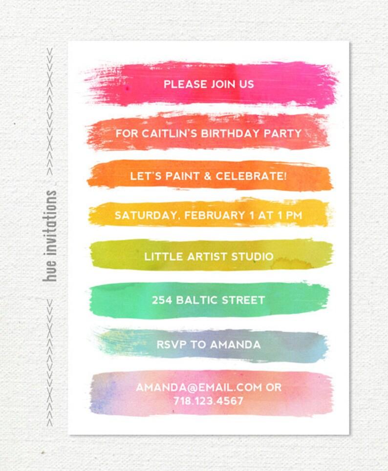 Paint Party Invitation Art Party Birthday Invitation Rainbow Etsy