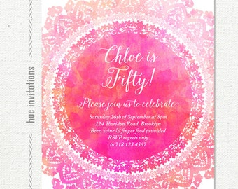 50th birthday invitation for women, pink watercolor birthday party invitation, lace doily rustic digital invitation file jpg or pdf n114