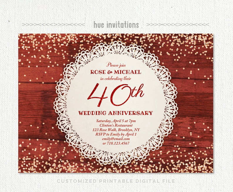 40th Wedding Anniversary Invitation Ruby Anniversary Party Etsy