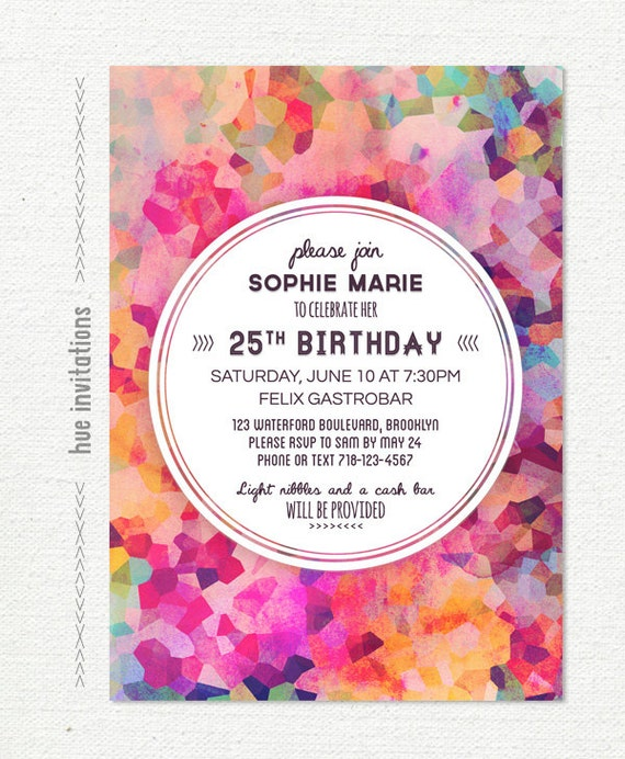 Geometric 25th Birthday Party Invitation Adult Invite Watercolor Purple Modern Glam Violet Magenta Pink 5x7 531