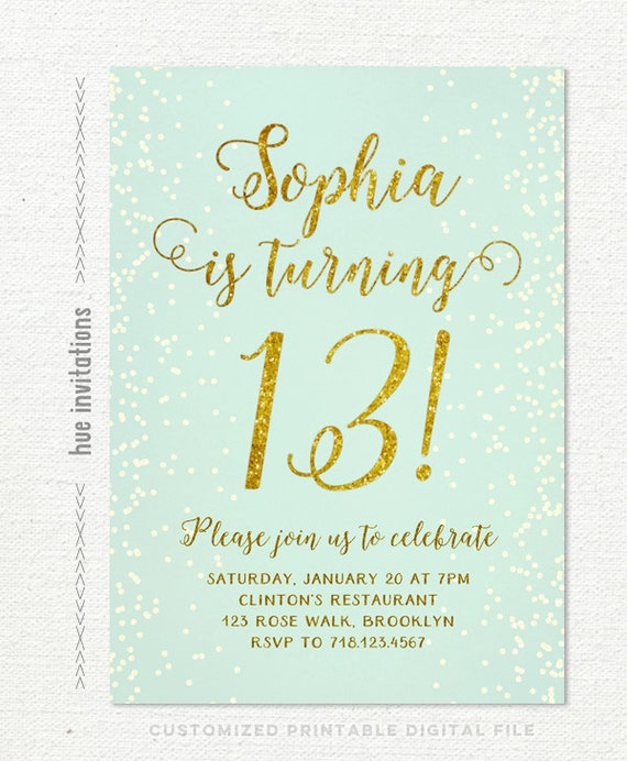 Birthday Party Invitations Teen Girl Mint And Gold Turquoise