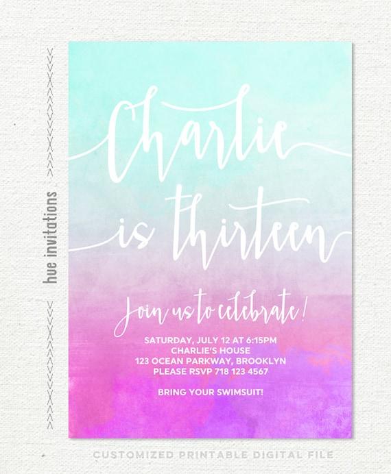 Girls 13th Birthday Invitation Mint Turquoise Pink Purple